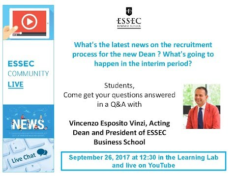 ESSEC Community Live #1 - Vincenzo Esposito Vinzi Acting Dean & CEO of ESSEC