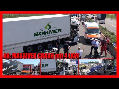 UNFALL - mehrere LKW - Fahrer eingeklemmt - VOLLSPERRUNG - A8 - Feuerwehr - THW - DRK   [E]