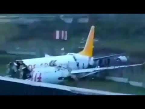 Pegasus Airlines skidded off the runway in Istanbul #unexpectedaccidents