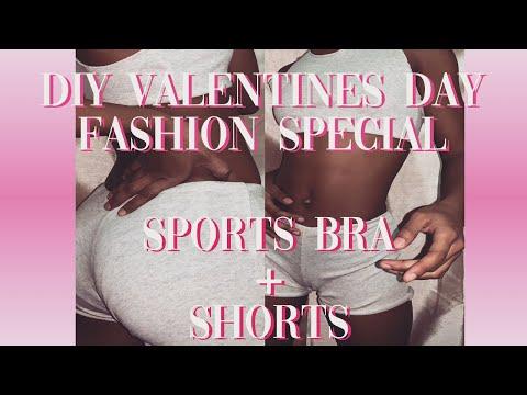 DIY Sports Bra + Shorts || DIY Valentines Day Fashion Special