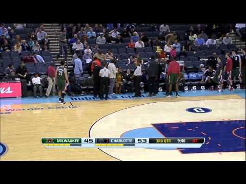 Terrible pass by Gerald Henderson drills a fan walking by in the head. vs Bucks 11-29-13