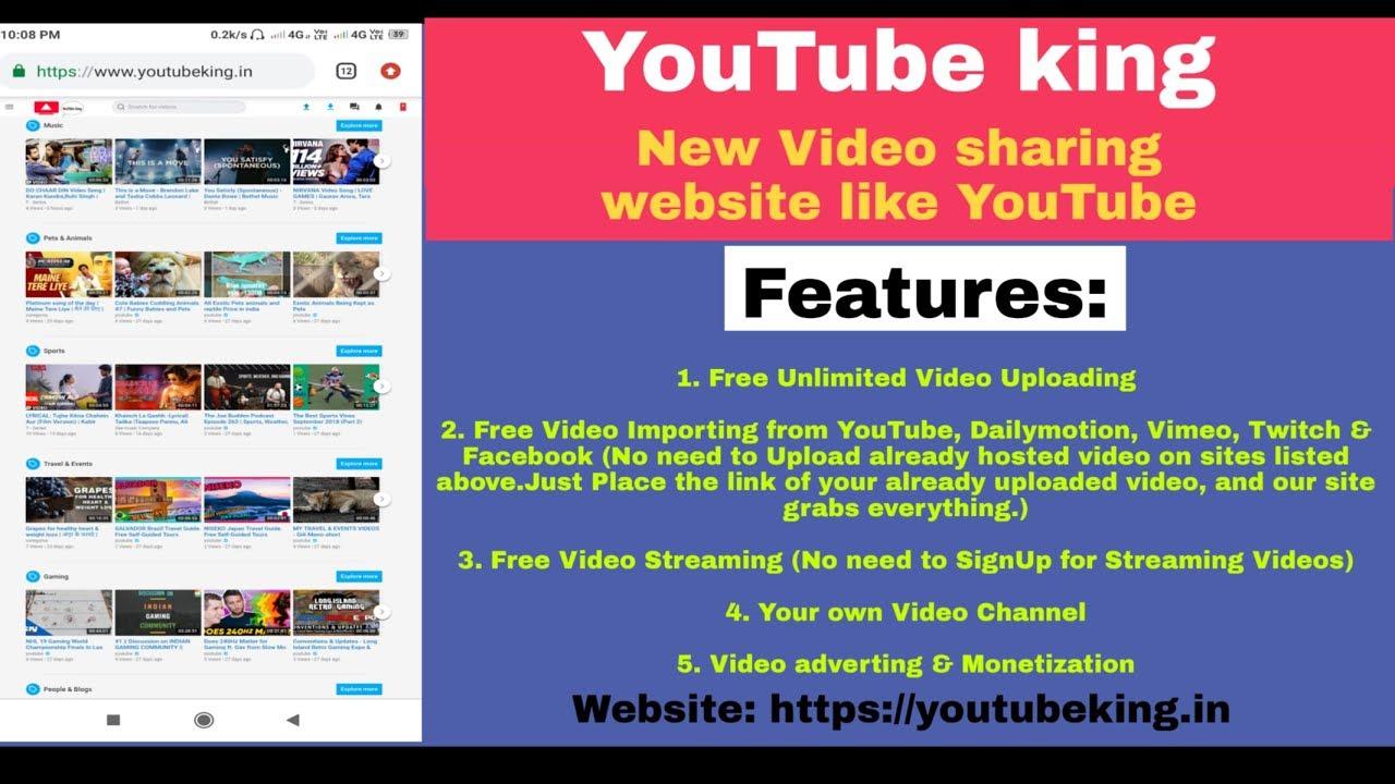 YouTube king new video sharing website like YouTube (2019) youtube  alternative to earn money