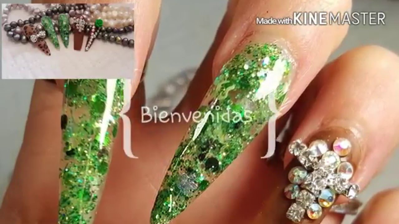 Uñas acrilicas Verdes y cafe - YouTube