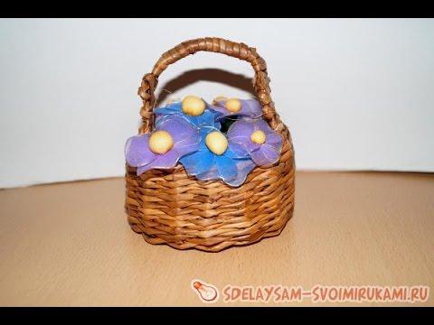 Корзинка с цветами из капрона. Как сделать