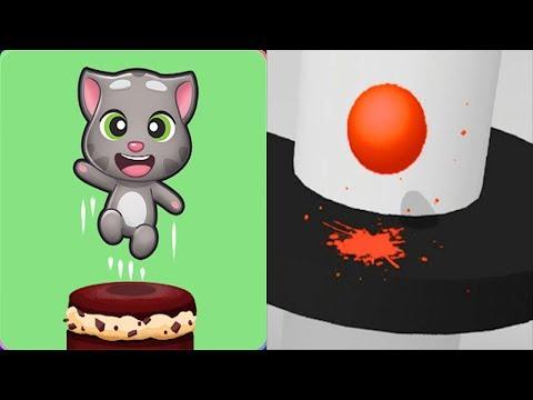 Talking Tom Cake Jump  vs Helix Jump