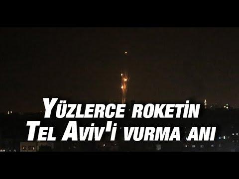 Yüzlerce roketin İsrail'i vurma anı