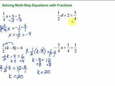 lesson 7 3 solving multi step equations with fractions youtube - Solving Equations With Fractions Worksheet
