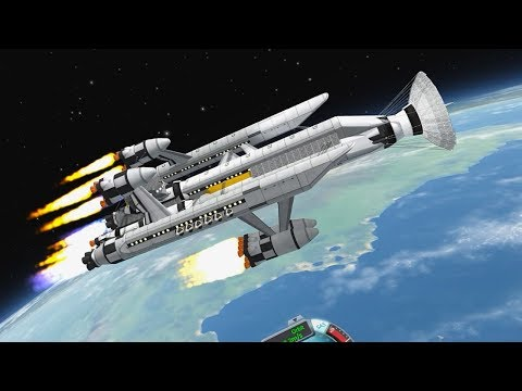 Building/Flying GIANT Spacecraft in Kerbal Space Program (Space Station and Battleship)