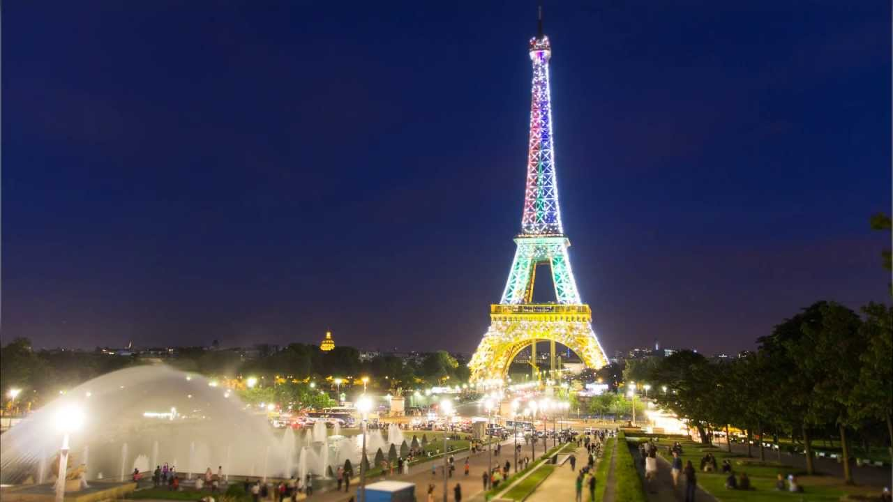 Paris eiffel tower night light show raw timelapse hd for Paris night time