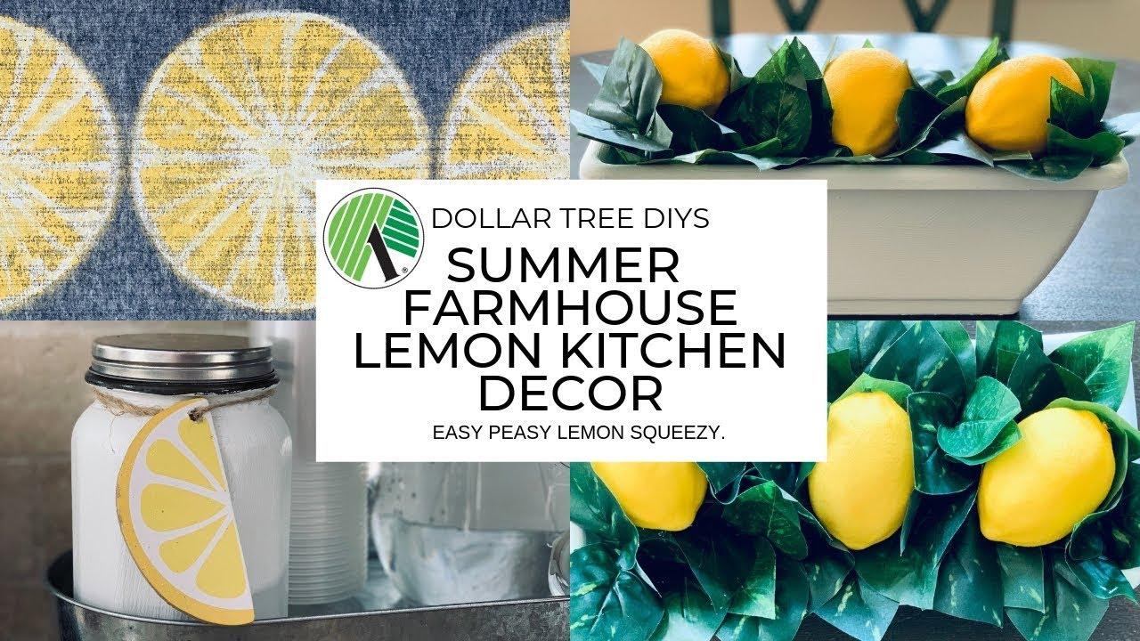 Dollar Tree DIY Farmhouse Kitchen Decor|Lemon Decor - YouTube