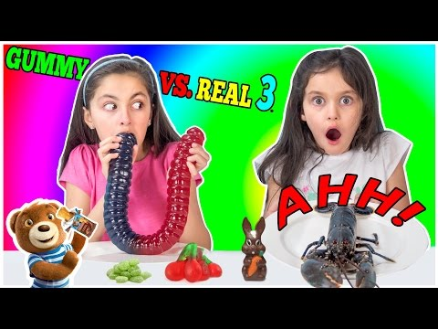 Thumbnail: Real Food vs Gummy Food Challenge Part 3! Gross Real Food - Kids React & Freaks out -Lobster & Candy