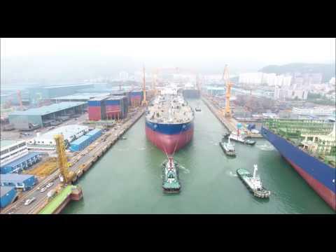 드라이 도크 진수 영상(대우조선해양)