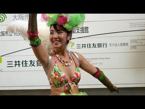 [4K] 神戸サンバチーム 緑衣装さん [天神橋の秋祭り] Kobe Samba Team,Green Costume