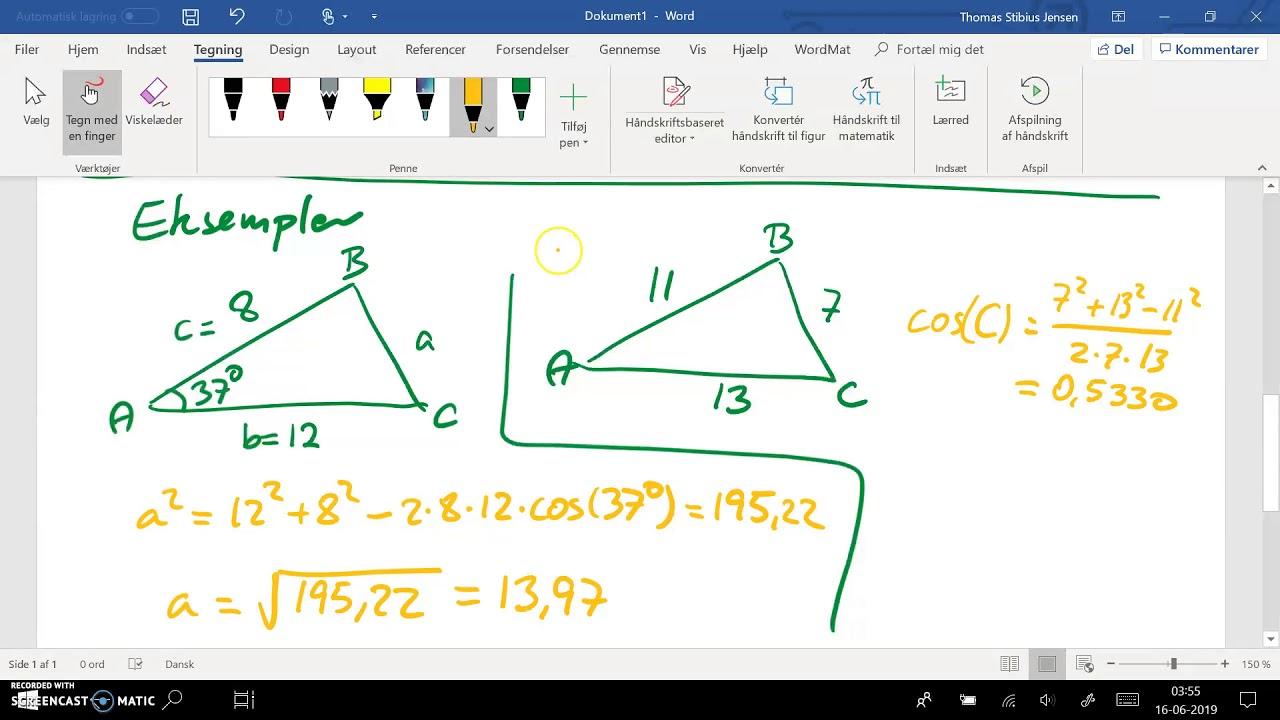 2ev spg 4 - 1cd spg 8 - del 2: cosinus relation - hvornår anvendes den
