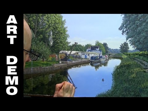 Oil painting of Farncombe boathouse