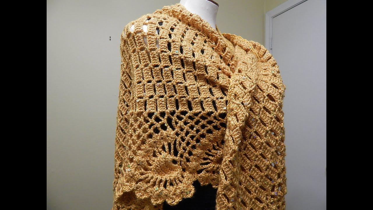 Fantástico Piña Patrón Chal Crochet Bandera - Ideas de Patrones de ...