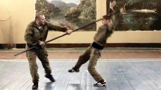 Работа с шестом. Пластунский рукопашный бой, система боя Леонид Полежаев.