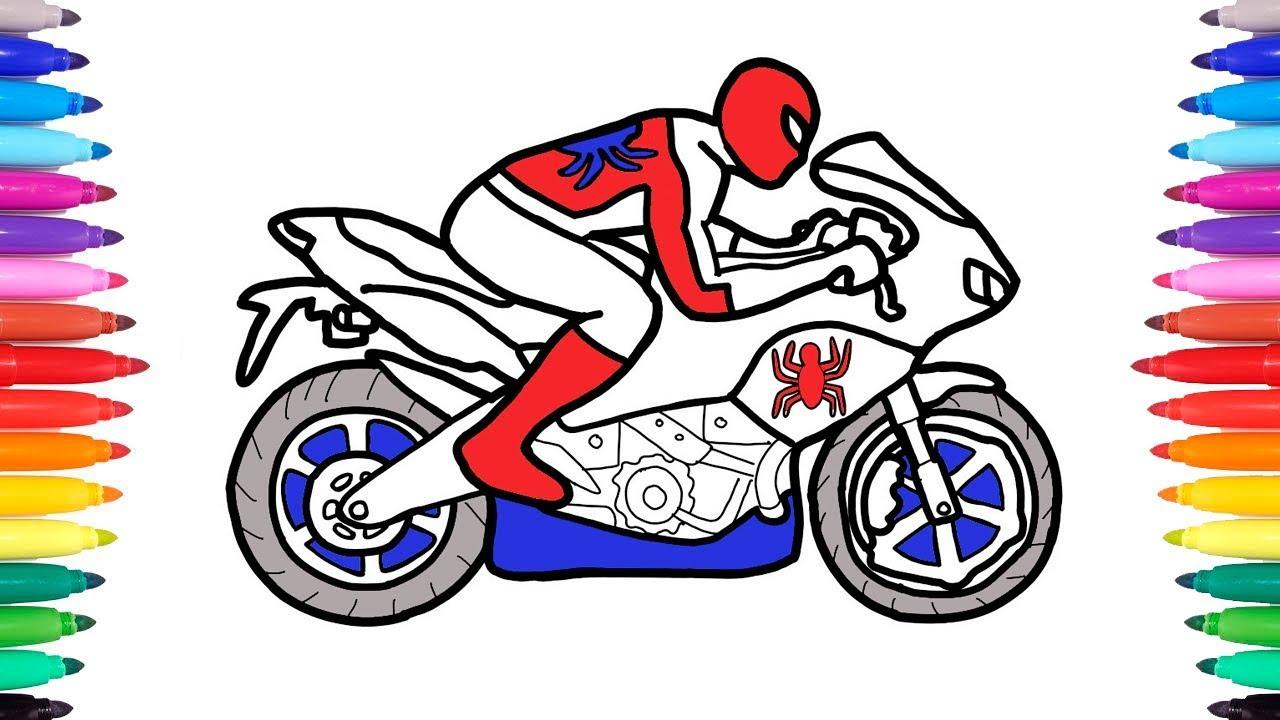 Como Dibujar Y Colorear Hombre Araña En Su Moto Videos Educativos