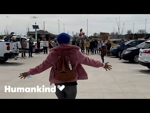 Cancer survivor surprised with parking lot party | Humankind