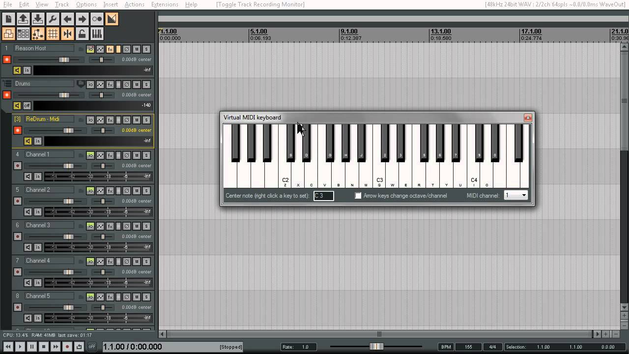 Tutorials For Reaper   Reason ReWired to Reaper   Track Template
