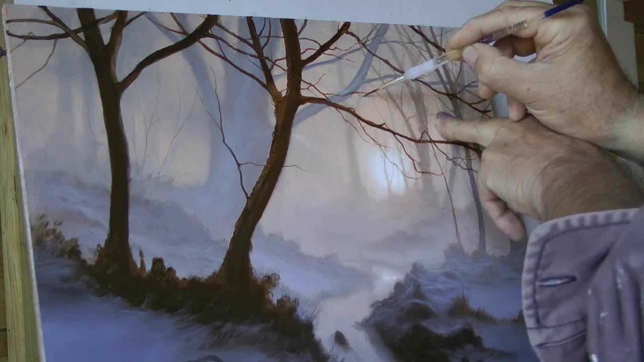 Final Stages Of A Winter Woodland Waterfall How To Paint