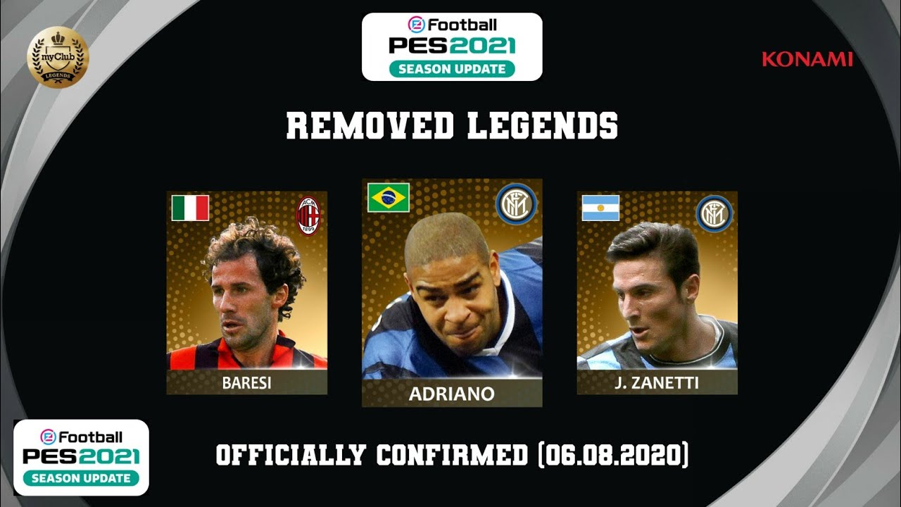 ALL 18 REMOVED LEGENDS in PES 2021(Mobile/PC) Officially Confirmed By KONAMI (06.08.2020)