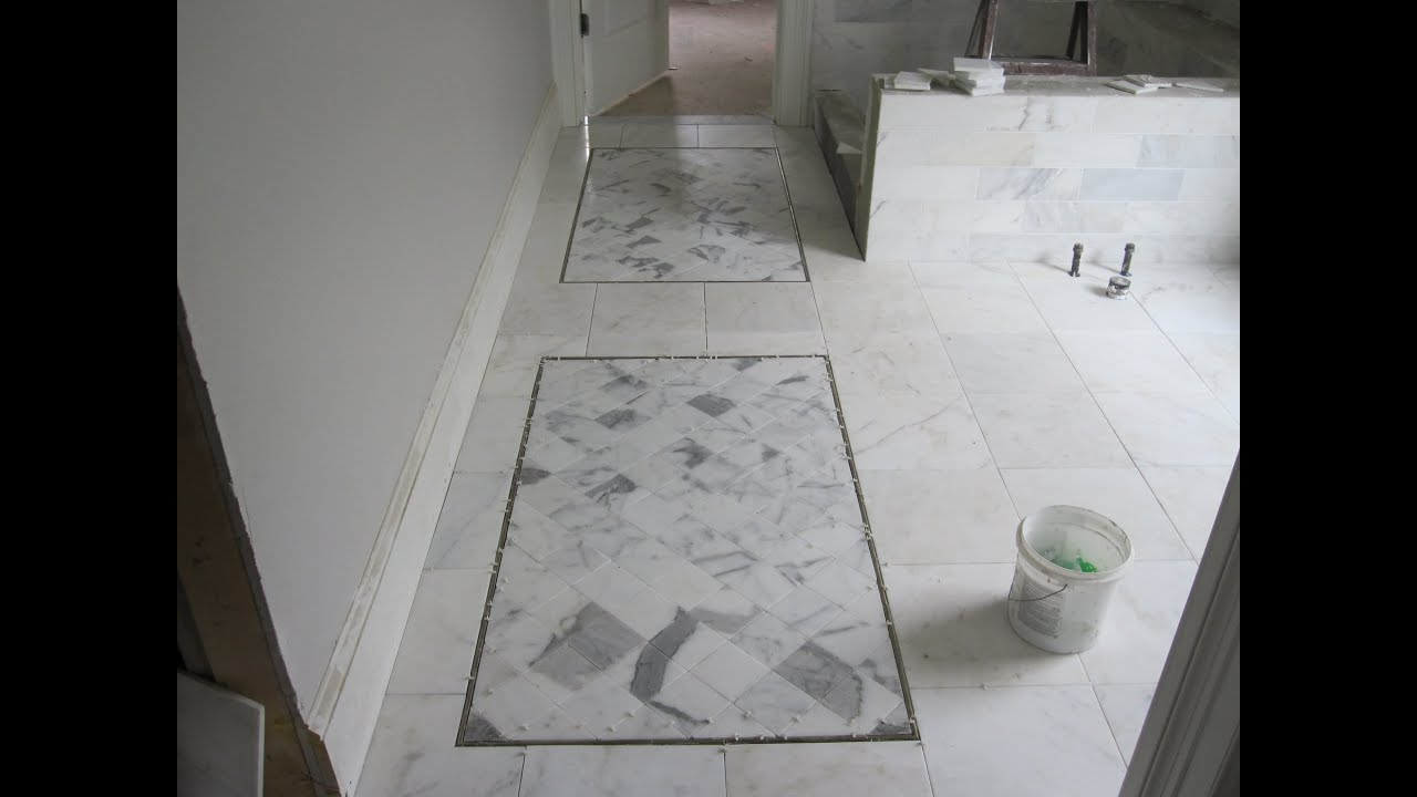 Master bathroom marble tile floor - YouTube