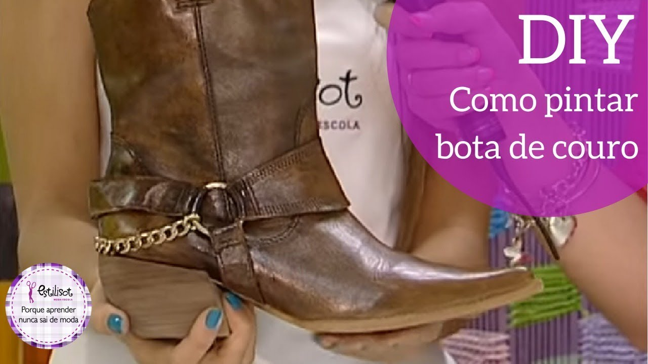 31d6aba2d5790 Como pintar bota de couro - YouTube