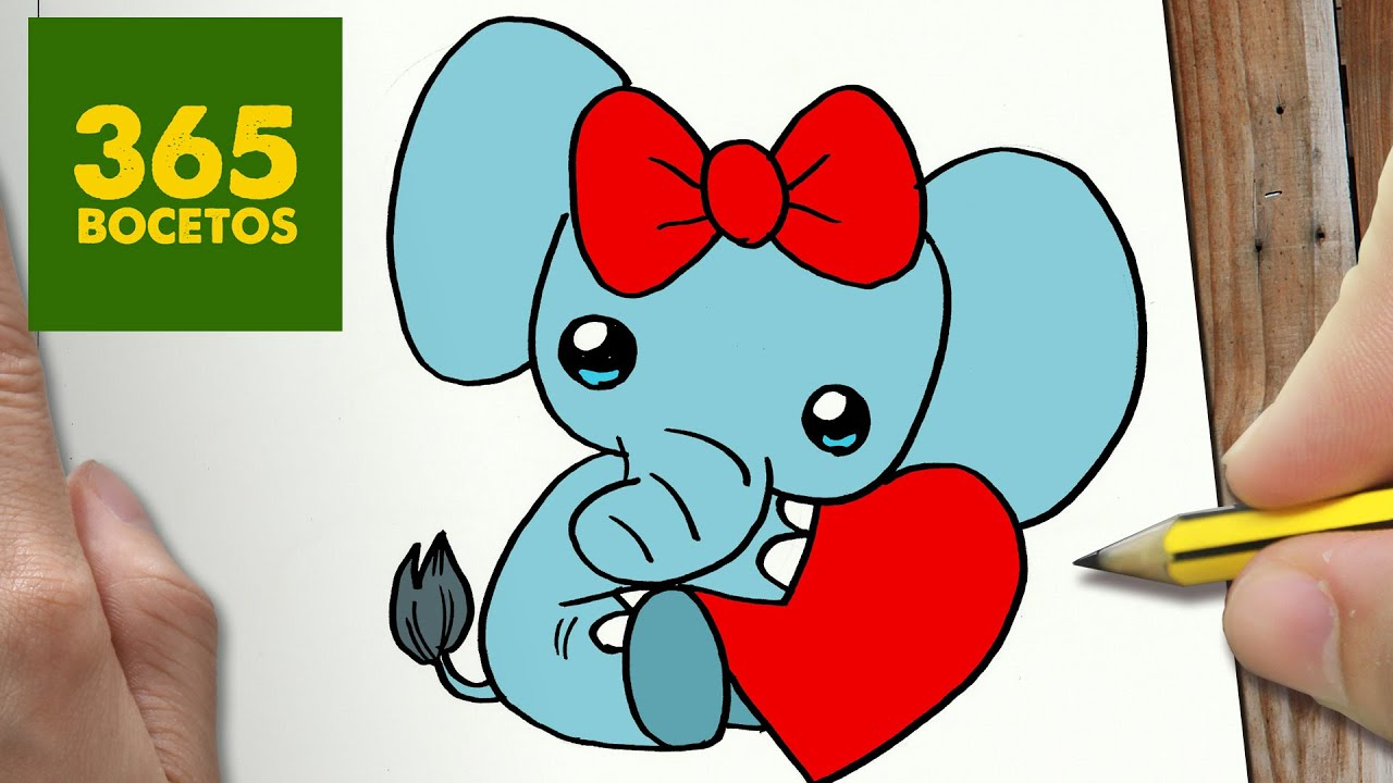 COMO DIBUJAR ELFANTE SAN VALENTIN KAWAII PASO A PASO , Dibujos kawaii  faciles , draw ELEPHANT , YouTube