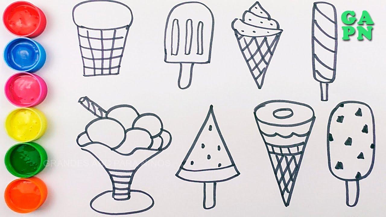 Cómo dibujar helado | Aprender los colores con Helado para niños