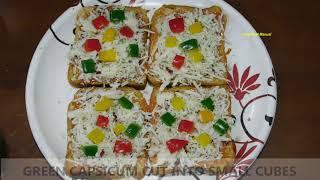 Quick and easy bread tawa pizza!!! yumm!!! so cheesy!!!