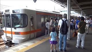 関西本線 亀山駅 遅れの快速列車到着
