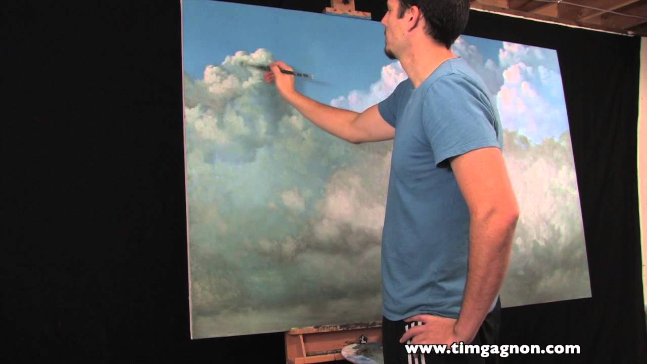 Big Cloud Oil Painting In Progress By Tim Gagnon Painting