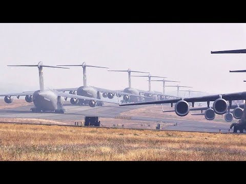 Military Aircraft Mass Takeoff From McChord Air Force Base