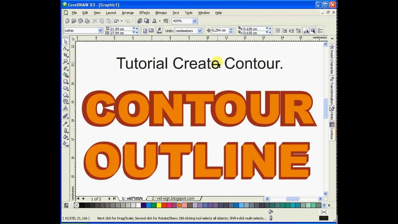How To Learn Contour And Outline Using Coreldraw