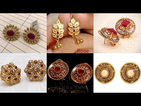 light-weight-24k-gold-earrings-designs---gold-tops-designs-for-daily-wear