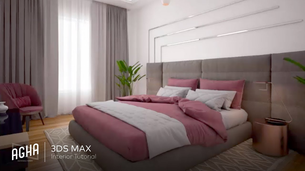 3ds Max Interior Tutorial Bedroom Vray Rendering Photoshop Youtube