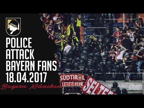 Police attack Bayern München fans 18.04.2017