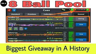8 Ball Pool Biggest Giveaway 3 Account { 3 Billion Coin + 7 Plus Legendary Cue } 👍😱