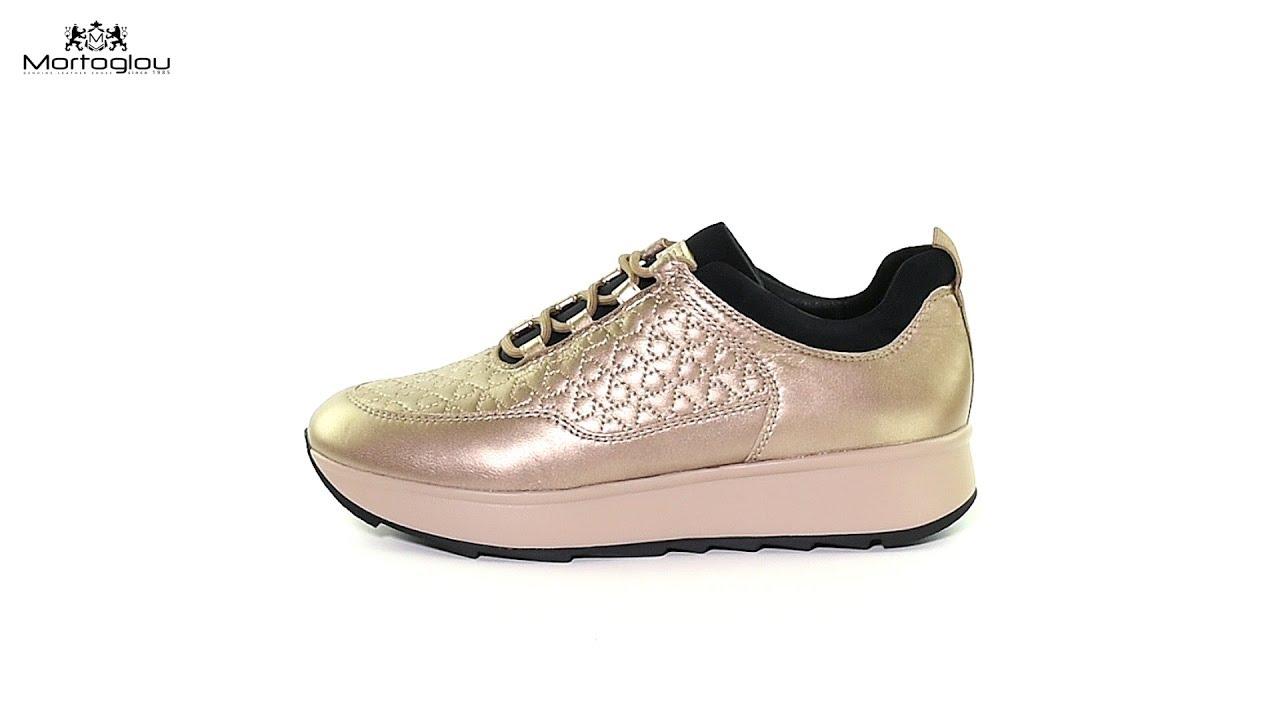 779b76ec4e0 Γυναικεία Παπούτσια Casual Geox D845TC Gold Leather - YouTube