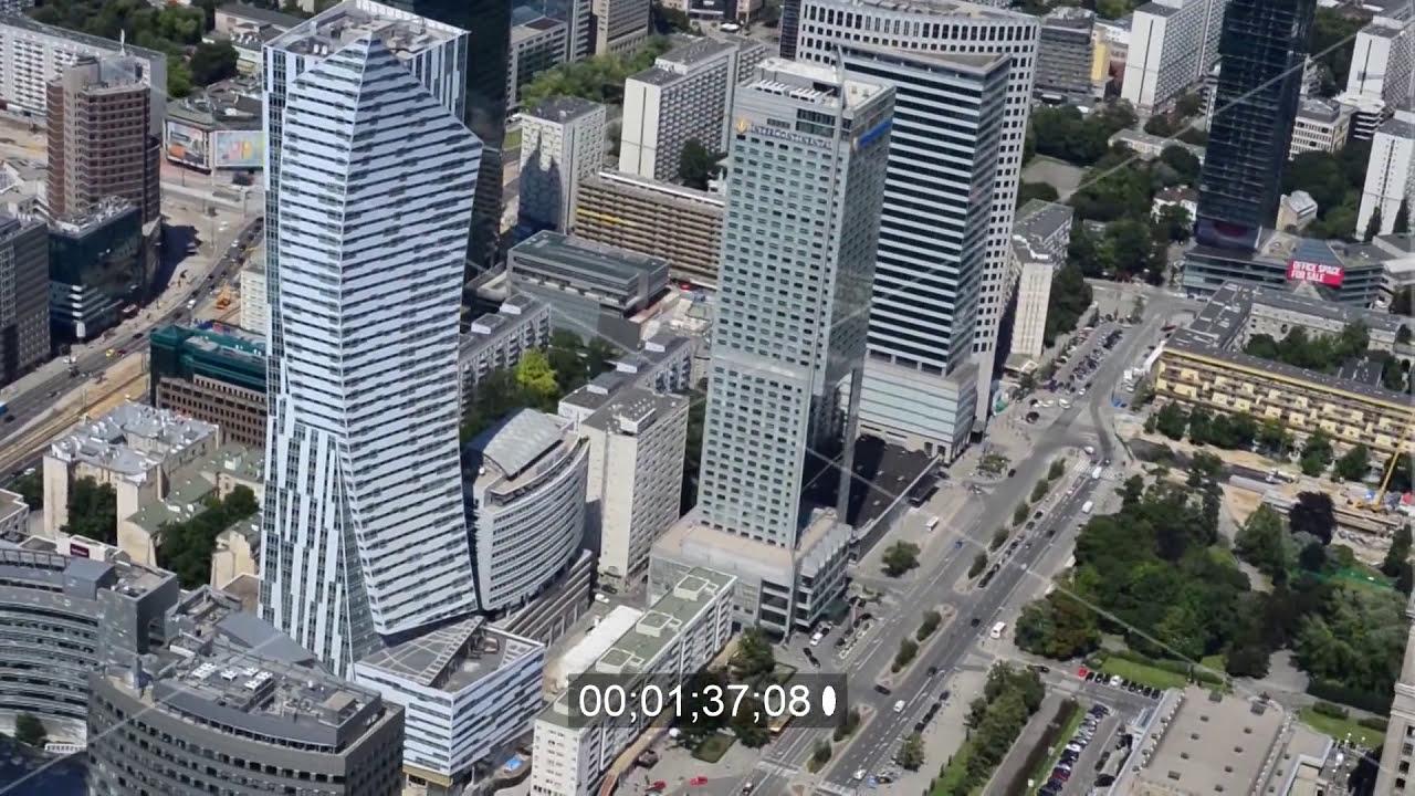 video der hochhaus skyline im zentrum der hauptstadt warschau in polen youtube. Black Bedroom Furniture Sets. Home Design Ideas