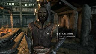 Skyrim Orc talks trash and gets jumped by me and another mage.