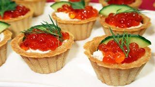 Тарталетки с красной икрой и сливочным сыром на новогодний стол. Изумительно Вкусно! Новогоднее меню
