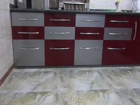 L Shape Semi Modular Kitchen In Double Acralic Ply Colour