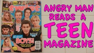 Angry Man Reads a Teen Magazine