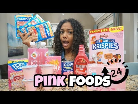 I Only Ate Pink Food for 24 Hours Challenge | LexiVee03