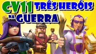 Clash of Clans #36 | Ataque de CV11 na GUERRA | 3 HERÓIS apavorando | Valquírias neles [PT-BR]