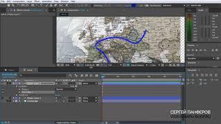 Adobe After Effects - Анимированная линия на карте с объектом