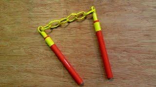 How to make a Paper Toy Nunchaku Nunchucks