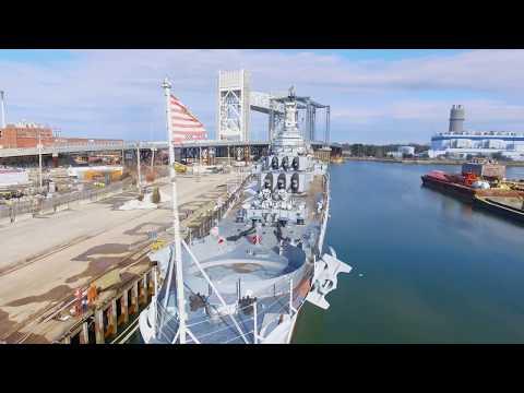 Heavy Cruiser USS Salem via Drone 4K Phantom 4